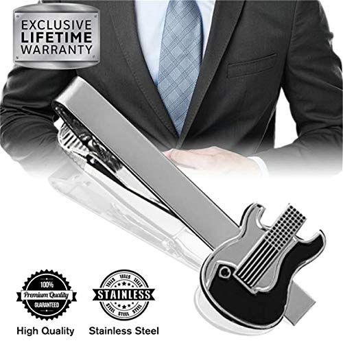MGStyle Tie Clip, Mens Tie Bar, Men's Silver Tie Clips for Men, Guitar Skinny Tie Bars for Ties Neckties, Electric Guitar Metal Tie Clip Tack Pin, Band Tie Pinch Clasp, Regular Normal Size 2.2 Inch