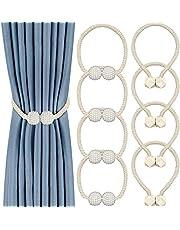 TOTUOKEY 8 Pack Magnetic Curtain Tiebacks, Drape Tie Backs Decorative Curtain Holdbacks Holder Curtain Tiebacks for Window Draperies, No Tools Required- Square and Pearl Shape