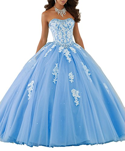 New Gown Quinceanera (Elley Women's Applique Long Formal Tulle Ball Gowm Princess Birthday Party Strapless Quinceanera Dress Blue US16)