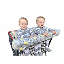 Twin Double Shopping Cart Cover for Baby Siblings 4 Leg Holes High Chair Trolley Pad Extra-Large Size-Yellow Flower