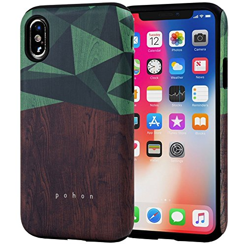 iPhone X Case, SKINU Wood Pattern [Shockproof 2 in 1 Hybrid] Rugged [Heavy Duty Combo] [Dual Layer] High Impact Durable Back Case Cover for iPhone Xs/X (2018) - Wood