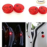 Car Door Warning Light with Red Strobe Flashing Led Open Safety Lights Reflecto LED Lamps Magnetic Waterproof Wireless Universal Red Flash Proximity System Instant Switch On Off Anti Collision 4 pack