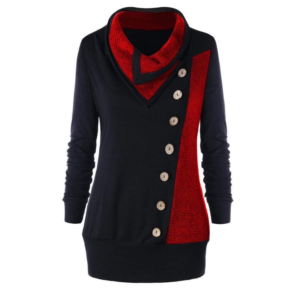 Femme Hiver Vetement Mode RéTro Vintage Manches Longues Tour-Down Boutons Col Pull-Over Patchwork Daily Casual Chaud VonVonCo2018080002