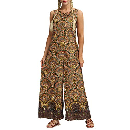 CCOOfhhc Women Loose Playsuit Yoga Gypsy Jogging Harem Pants Baggy Trousers Jumpsuit with Pocket Yellow