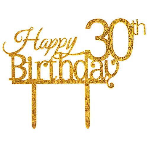ZMTC Glitter Gold Acrylic Happy 30th Birthday Cake Topper, 30 Birthday Party Cupcake Topper Decoration (30, gold)