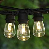 Commercial String Lights 100 ft Black - LED S14 Professional WW Bulbs