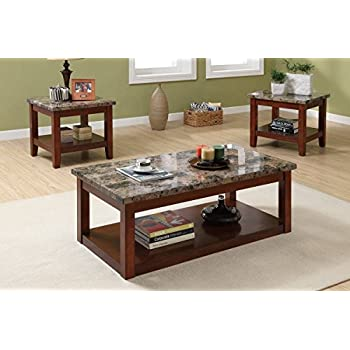 living room table set. Poundex 3 Piece Coffee Table Set Featuring Faux Marble Finish Amazon com  Dark Cherry Kitchen