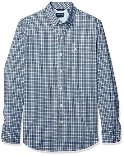 (Dockers Men's Long Sleeve Button Front Comfort Flex Shirt, Charlton Nebulas Blue Plaid, Large)