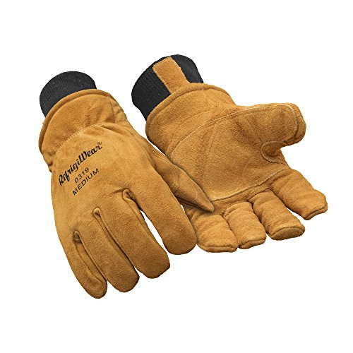 Cowhide Mens Glove - RefrigiWear Warm Fleece Lined Fiberfill Insulated Cowhide Leather Work Gloves (Gold, X-Large)