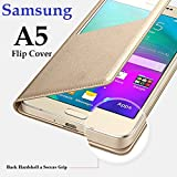 Samsung Galaxy A5 Flip Cover Golden Colour 2015 100% S-View*Single Window Leather Flip Cover Case for Samsung Galaxy A5