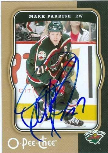 Mark Parrish Autographed Hockey Card Minnesota Wild 2007 2008 O