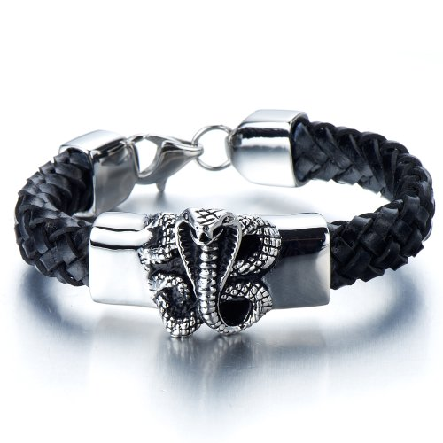 Leather Bracelet Stainless Gothic Braided