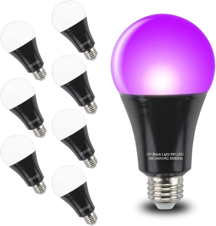 Club Bar UV Bulbs DJ GLW 4 Pack UV Blacklight Bulb 9W E26 A19 Bulb Decorative Illumination,Suitable for Indoor and Outdoor Black Light Party Aquarium,Body Art