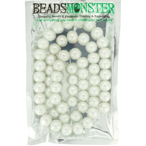 Color Glass Pearl Beads 12mm Round, White, 60pcs, Jewelry Making Design for Bracelet - 12mm Necklace Pearl