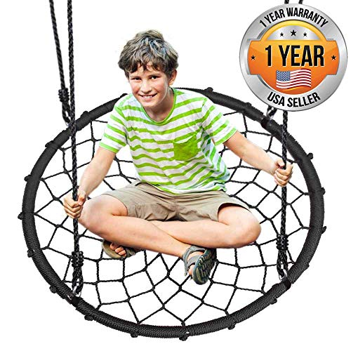Outdoor Spinner Saucer Tree Swing - Hanging Tree Round Net Circular Flying Saucer in Rope Straps w/Cushion Padded Metal Frame, Webbed Seat, Great for Kids, Adult - SereneLife SLSWNG200