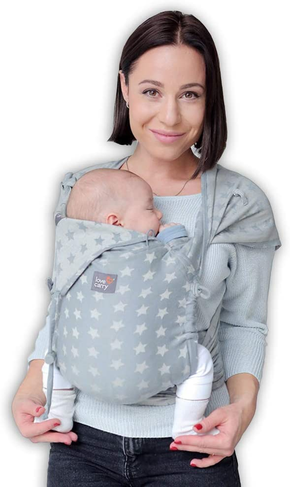 Love /& Carry/® Love Tie//Mei Tai Baby Carrier Ergonomic Newborn Belt Grigio Star