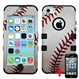 APPLE IPHONE 5C WHITE BLACK BASEBALL SPORT HYBRID RIB CAGE COVER HARD GEL CASE + FREE SCREEN PROTECTOR from [ACCESSORY ARENA]