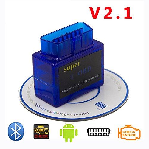 DLSEAUTO Elm327 Bluetooth 2.0 ELM 327 V2.1 OBD2 OBDII Adaptador Auto Escáner para Android Lector de código de Windows Herramienta de diagnóstico elm327: ...