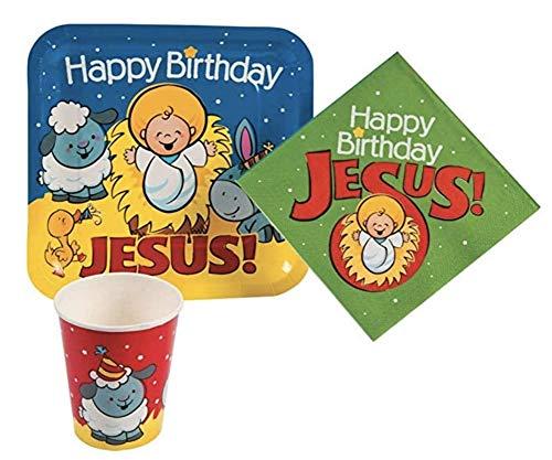 - Happy Birthday Jesus Nativity Paper Tableware Set (64 Pieces)