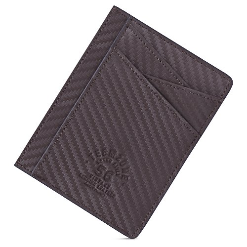 Teemzone Minimalist RFID Mens Slim Wallet Genuine Leather Pocket Credit Card Case Holder (Texture Brown) 2 Pocket Card Case