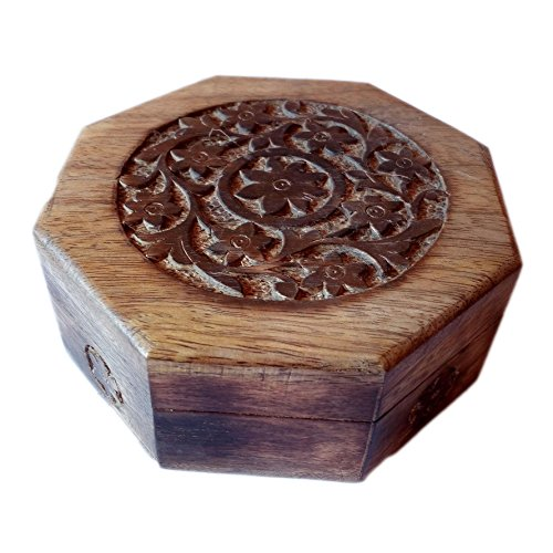 Antique Handmade Wooden Urn Engraving Handcarved Flower Octagonal Jewellery Box for Women-Men Jewel | Home Decor Accents | Decorative Urns | Storage & Organiser