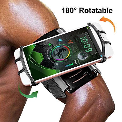 GuckZahl Water Resistant Running Armband with Key Holder for iPhone iPhone X/8/8 Plus/7 Plus/6/Galaxy S5/S6/S7/Note 5 Edge Pixel, 180 Rotatable Sports Wristband for Hiking Biking and Walking by GuckZahl