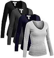 Emmalise Women's Casual Basic V-Neck Tshirt Long Sleeves Tee Top - Junior and Plus Sizes