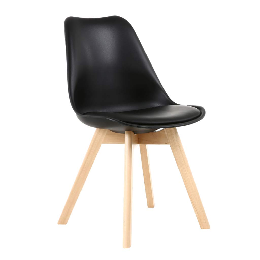 A Solid Wood Chair,Nordic Minimalist Style PU Cushion Stools, Combination Assembly Negotiation Dining   Leisure Chair,Sitting Height  46Cm,A