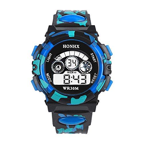OWMEOT Kid Watch 30M Waterproof Sport LED Alarm Stopwatch Digital Child Quartz Wristwatch for Boy Girl (Blue) (Kits Drum Download)