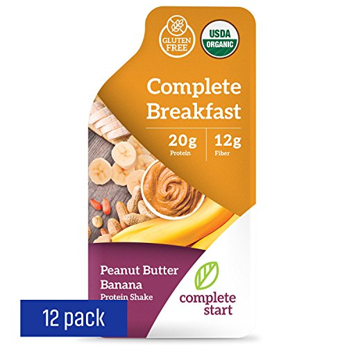 Complete Start – Plant Based Meal Replacement, 100% USDA Organic, Vegan Protein, Instant Breakfast (12 Shakes) – Gluten Free, Dairy Free, Low Carbs, Protein Shake with Peanut Butter and Banana Flavor For Sale