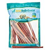 Best Bully Sticks All-Natural 12 Inch Thick Odor-Free Bully Sticks (25 Pack) - Made from Free-Range, Grass-Fed Cattle