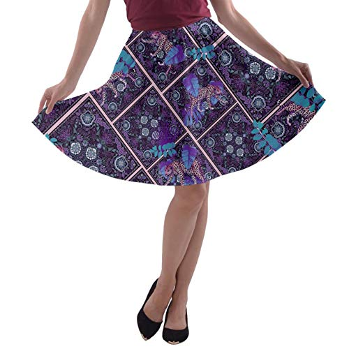 CowCow Womens Forest Leopard Tiles Print A-Line Stretchy Skater Skirt - 2XL