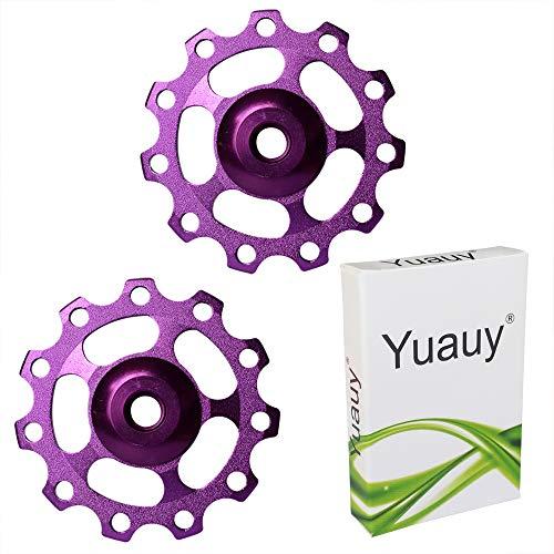 Yuauy 2 x Bike Rear Derailleur Pulley Guide Wheel Bicycle Cycling Aluminum for Road Bike Mountain Bike (Purple) (Mountain Purple Bike)