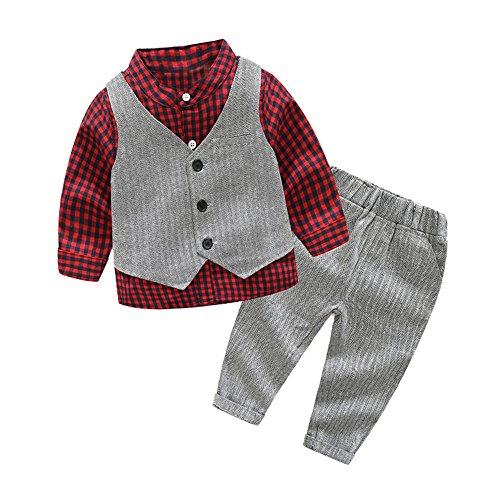 Tem Doger Baby Boys Plaid Button Down Casual Dress Shirt Slim Fit +Vest+Pant Outfits (90/12-18 Months, Red) ()