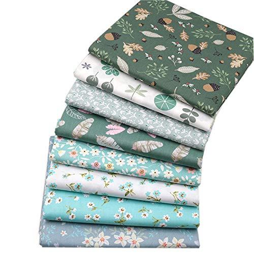 "Green Floral Fat Quarters Fabric Bundles, Precut Quilt Sewing Quilting Fabric,8 Pcs 18""x22"" (2 Yards Total)(Green B)"