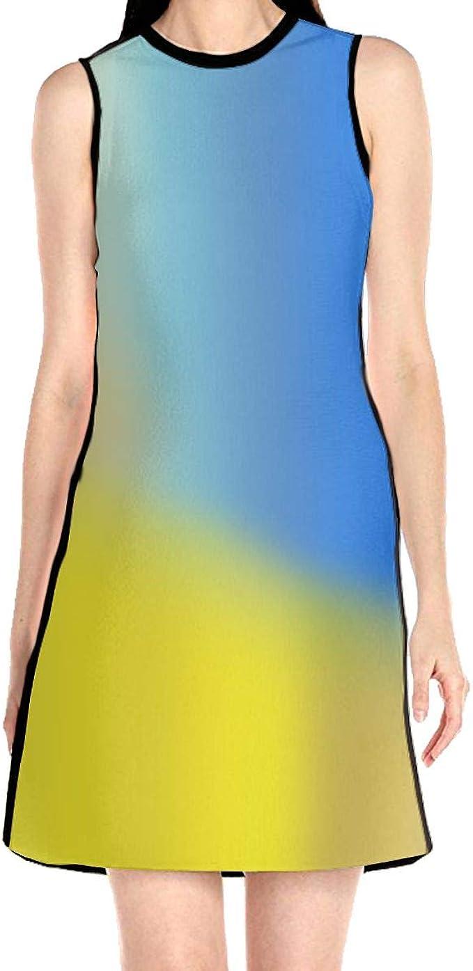 Scuba Sheath Dress Yellow Blue Color