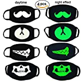 4 Packs Luminous Mouth Mask Cool Unisex Cotton Blend Anti Dust For Rave And Club for Men and Women