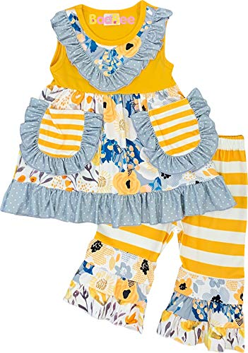 Boutique Baby Girls Summer Flowers Floral Ruffles Top Capri Outfit Mustard Stripes 12-18M/2XS
