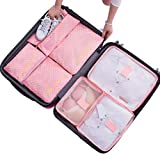 7Pcs Waterproof Travel Storage Bags Clothes Packing Cube Luggage Organizer Pouch( Pink dots)