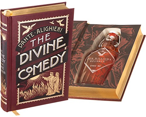 Flask Hollow Book - The Divine Comedy by Dante (Leather-bound) (Magnetic Closure) (Custom-Etched)