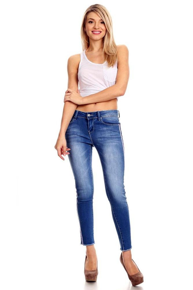 K's more Woman's Juniors Distressed Denim Jean Mid Waist with Torn Frey's and Purple Stripe (13)