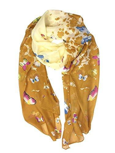 (YOUR SMILE Lightweight Scarf Fashion Flower Print Shawl Head Wrap For Women For Spring Summer Season (Beige/Khaki Butterfly))