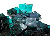 100 Pieces Stained Glass Mosaic Tiles 1/2-Inch Turquoise Cathedral Glass Textured