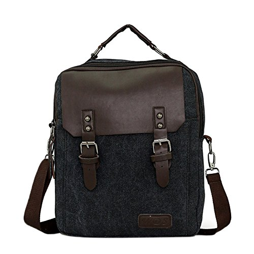 Genda 2Archer Venta caliente Funcional Casual cuero de la lona Handbag Negocio Oficina Satchels (Caqui) Negro