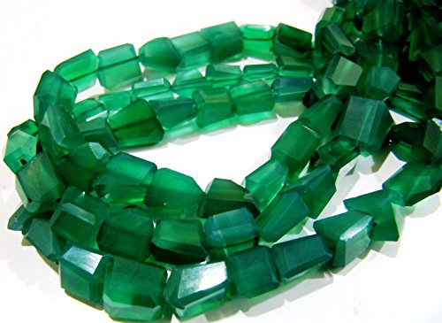 AAA Quality Laser Cut Green Onyx Beads/Nugget Shape Green Chalcedony Beads 10 to 12 mm/Strand 10 inches Long/Semi Precious Gemstones ()