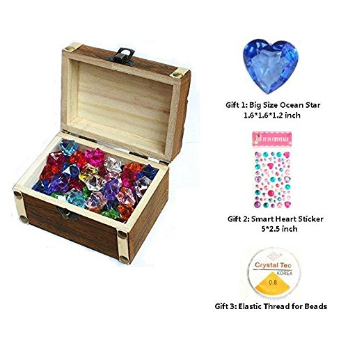 3 year old christmas boy gift amazon children gemsdiamonds toys with antique wood treasure box toy 70pcs ice gems 10pcs diamonds for boygirl birthdaychristmaseaster gifts for seeking negle Choice Image
