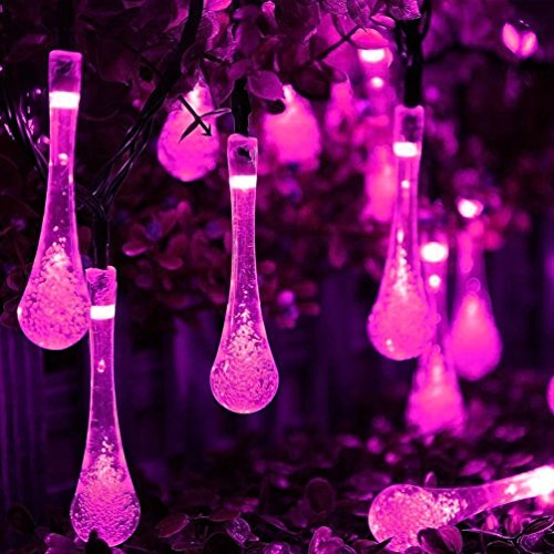 Solar Outdoor String Lights, Vellio Shine 20ft 30 LED Water Drop Solar String Fairy Waterproof Lights Christmas Lights Solar Powered String lights for Garden (Pink)