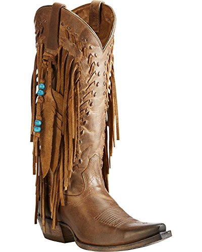 Ariat Women's Dusted Wheat Fringe Cowgirl Boot Snip Toe Brown 8.5 M