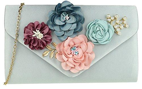 Clutch Silver HandBags Girly HandBags Flowers Flowers Flowers Clutch Bag HandBags Silver Girly Girly Bag qw8Pp6zOw