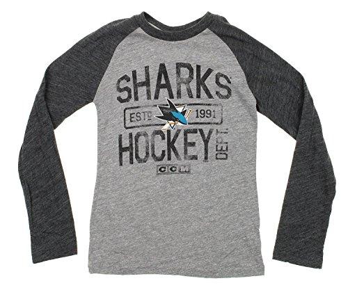 - CCM NHL Big Boys Youth Distressed Graphics Tri Blend Raglan Shirt, Various Teams (San Jose Sharks, Large (14-16))